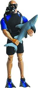 Wild Republic Male Reef Diver Action Figure, Shark Toys, Toy Aquarium, Ocean Party Supplies, 5-Pieces