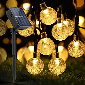 Amazon hizing outdoor string lights solar lights 30 led hizing outdoor string lights solar lights 30 led warm white crystal ball fairy waterproof for mozeypictures