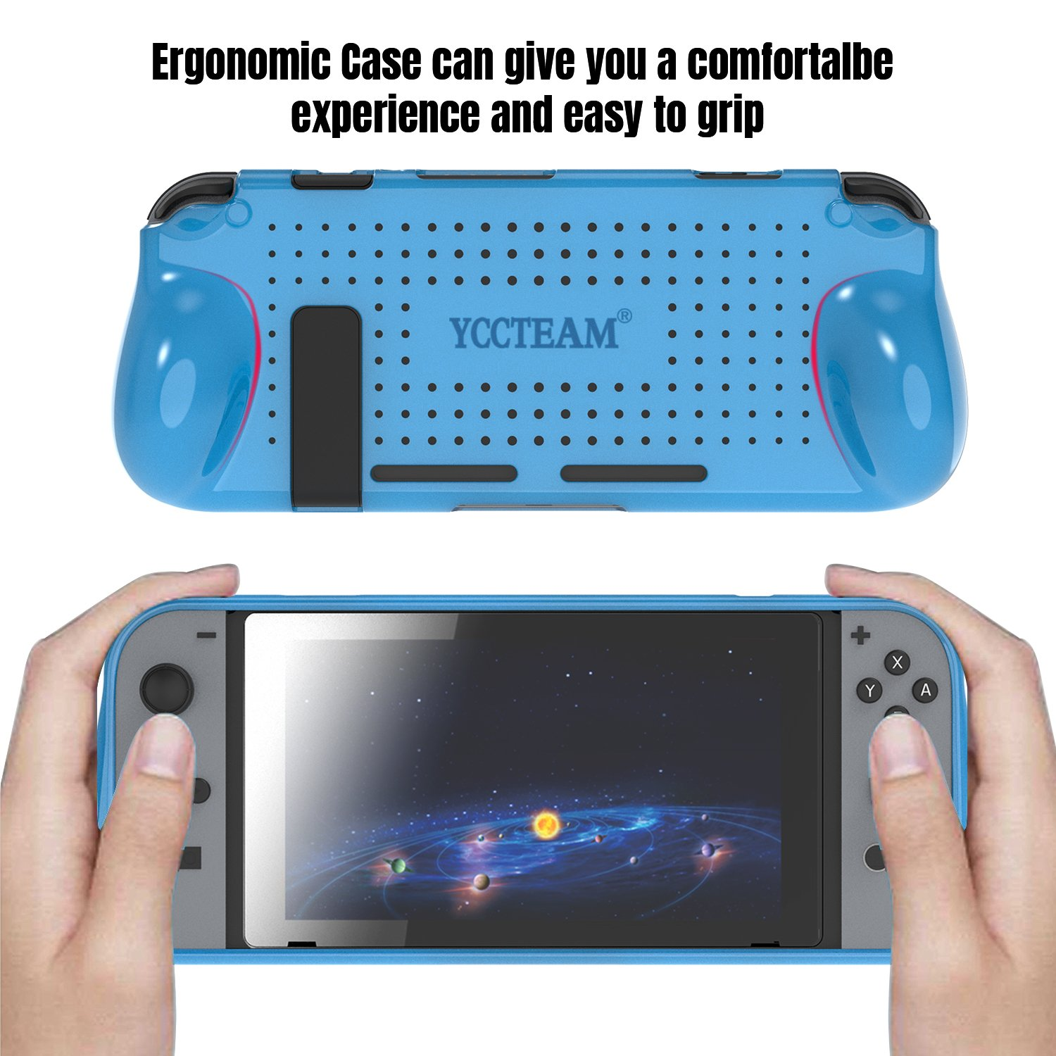 Protective Case for Nintendo Switch, Grip Cover with Shock Absorption and Anti-Scratch Design - Comfortable TPU Case for Nintendo Switch Console (Blue)