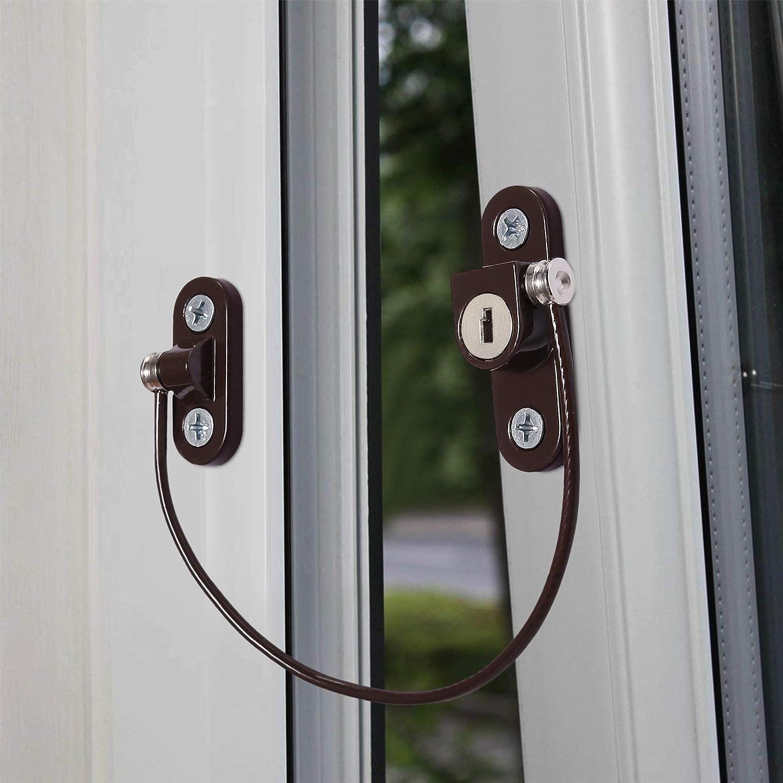 eSynic 8 pcs Seguridad para Ventana//Puerta Cierre de Seguridad para Ni/ño Restrictor de Ventana Cable de Bloqueo para Ni/ños Beb/és Familia Aplicaciones P/úblicas y Comerciales-Marron