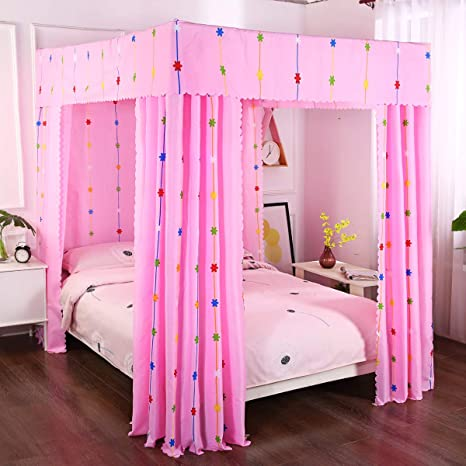 Mengersi Wind Chimes Four Corner Post Bed Curtain Canopy Bedroom Decoration For Girls Adults Windproof Lightproof Bed Canopies Child Gift Twin Pink