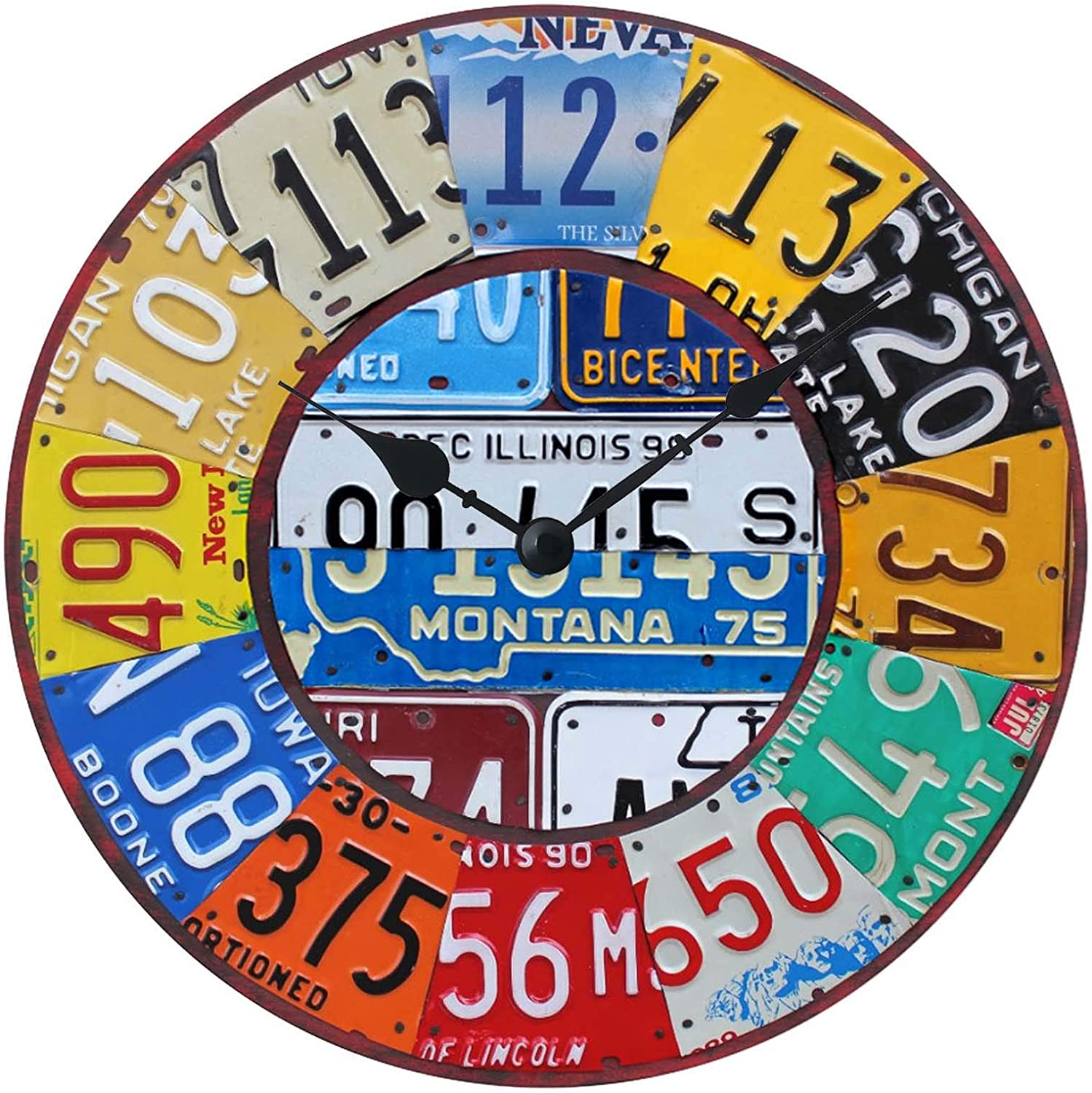 XinsFaith Silent Decorative Wall Clock Car tag Wooden 10 Inch Wall Decor Arabic Numerals for Bedroom Living Room Kitchen Frameless