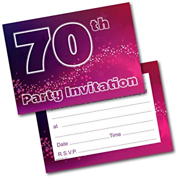 Doodlecards 70th Birthday Party Invitations Female Invites Pack Of 20 Postcards And Envelopes