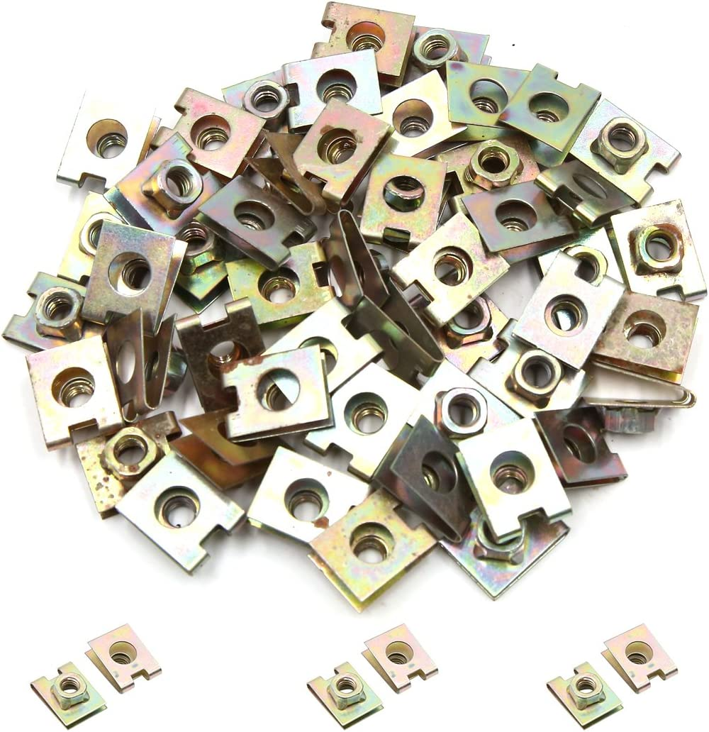 uxcell 50pcs 6mm Hole Spring Metal Plate U-Type Clips Splash Guard Nuts for Car