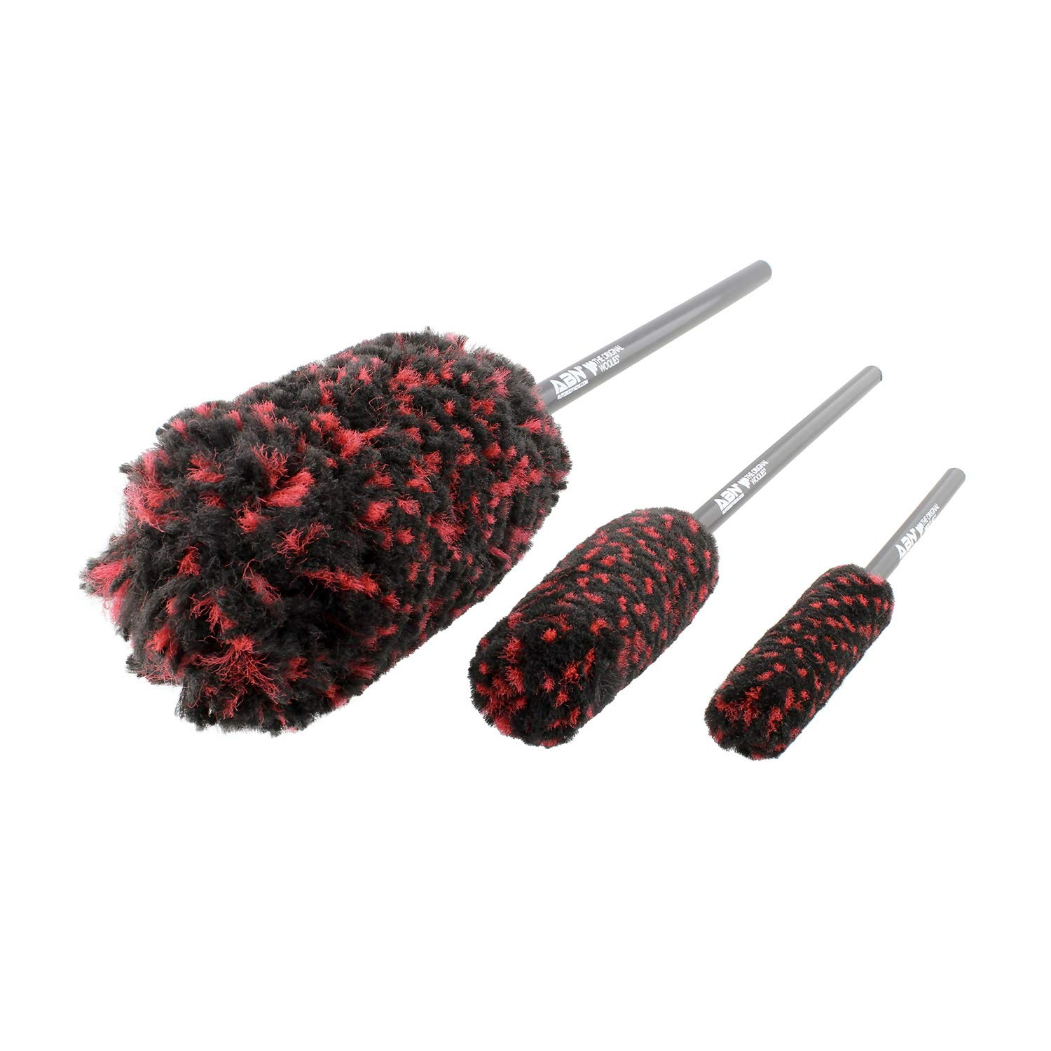 ABN Car Wheel Rim Cleaning 3-Piece Kit - Original Wheel Woolies Brush Stick Tool Tire Woolie Wooly Wand Set (3 Brushes) by ABN
