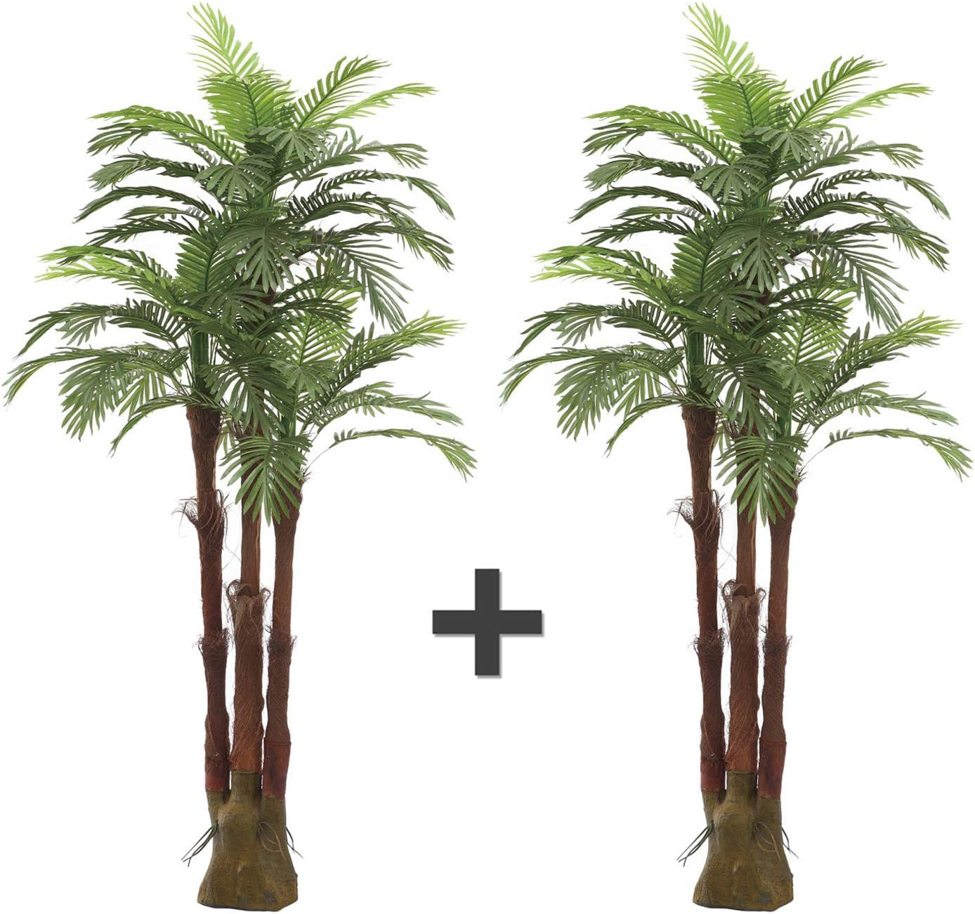 AMERIQUE AMPHP6FTPK2 Pair Gorgeous & Unique 6 Feet Triple Trunk Phoenix Palm Artificial Plant Tree, Real Touch Technology, with UV Protection, Super Quality, 6', Emerald Green, 2
