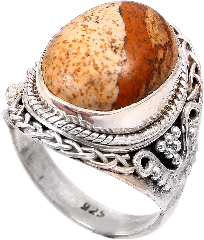 Anillo de plata de ley 925 para mujer anillo de la piedra preciosa natural Jasper Banda de boda para las mujeres Piedras preciosas anillo, anillo de compromiso Tamaño del anillo 17 (R-56)