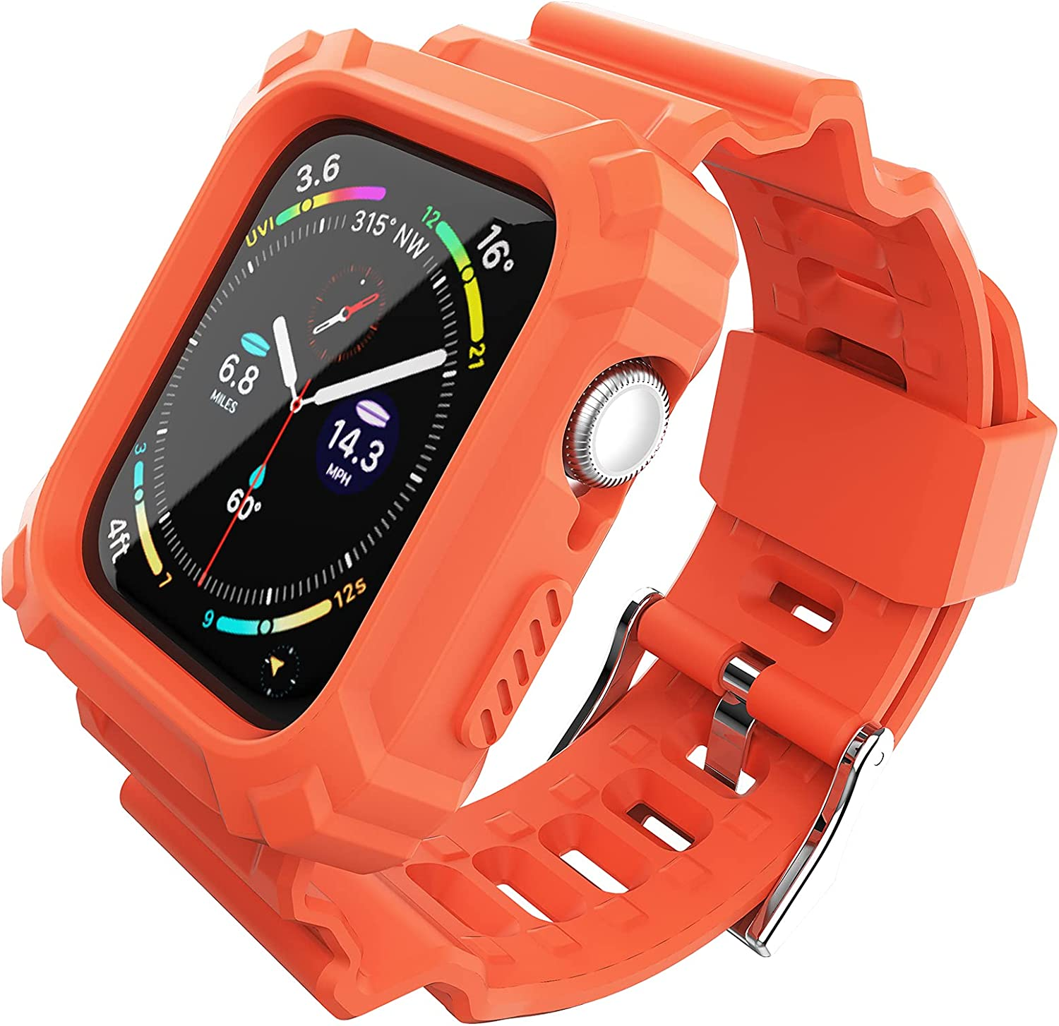 FITO Compatible with Apple Watch Bands 38mm 40mm Series with Case, Rugged Shock Resistant Case with TPU Sport Strap Bands Applicable to iWatch Series 6/5/4/3/2/1/SE - Orange
