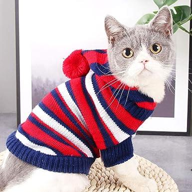 Elvoo Ropa de gato, Ropa de gato para mascotas, Ropa de gato azul corto, Suéteres, Gatos