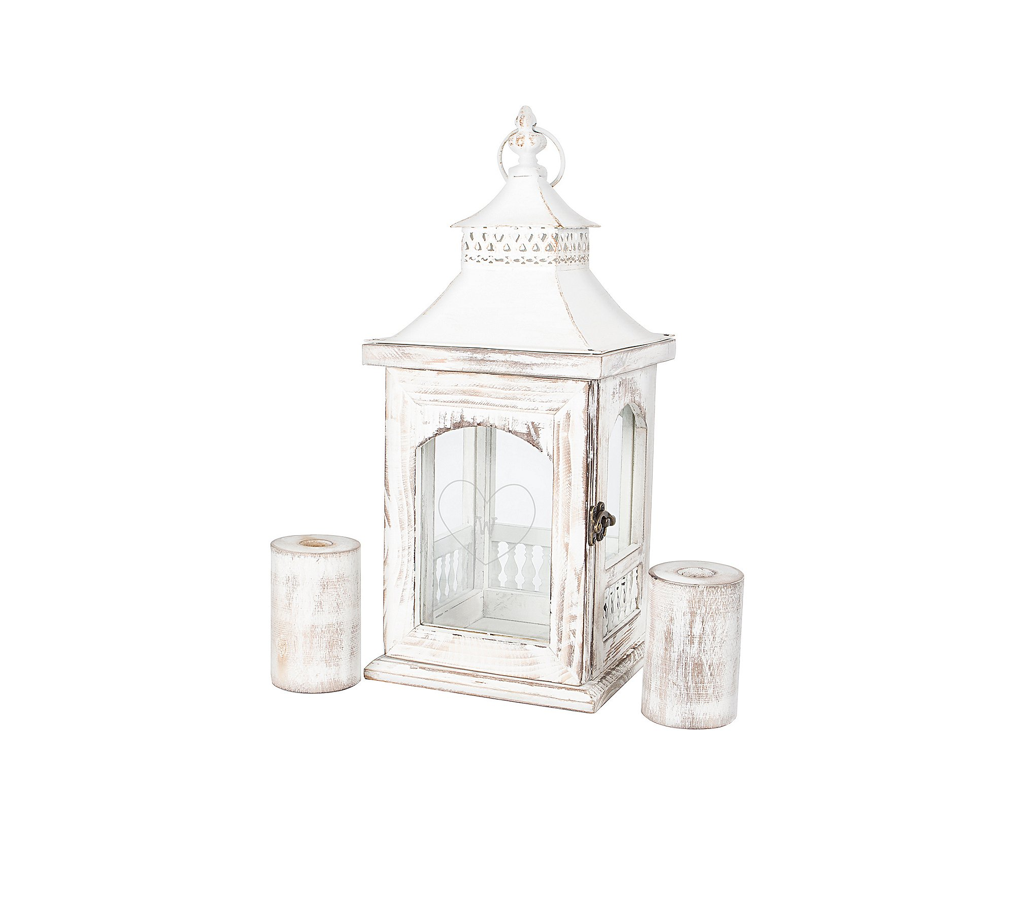 Personalized Rustic Heart Unity Lantern with Candle Holders, Letter U