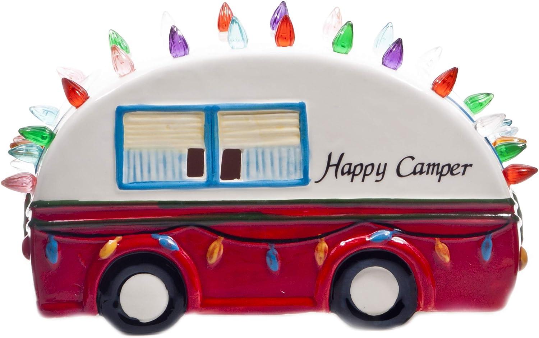ReLIVE Ceramic Light Up Happy Camper - 9.5 Inch Decoration