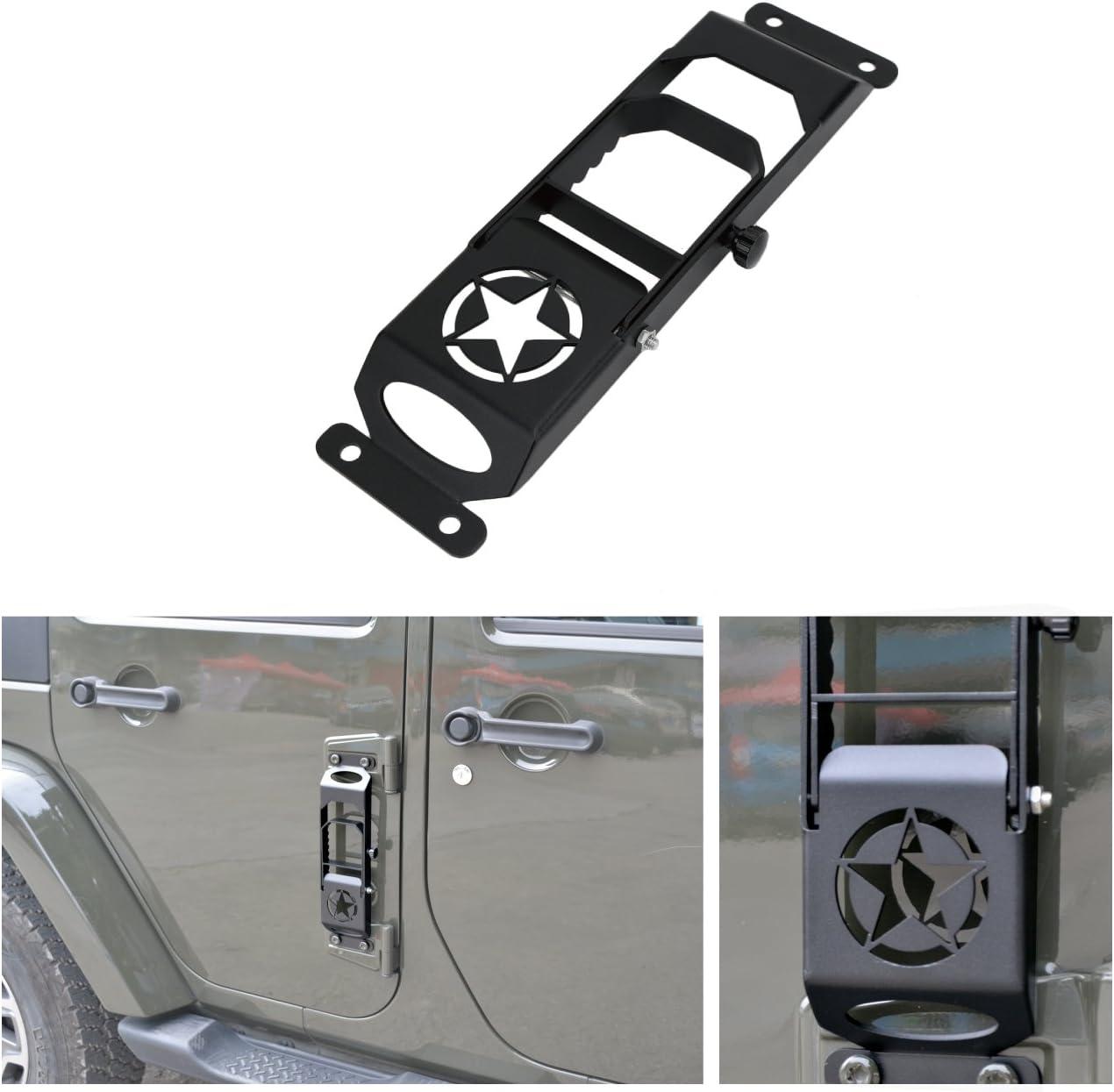 MASION Door Steps Door Hinges for Jeep Wrangler JK 2007-2017 Foot Pedal Peg Military Star Black Metal Solid Steel