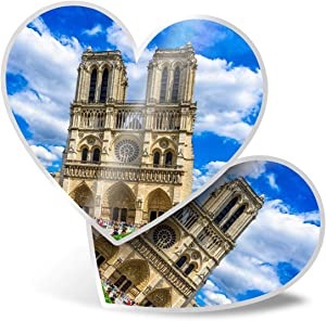 Awesome 2 x Heart Stickers 7.5 cm - Notre Dame de Paris Cathedral France Fun Decals for Laptops,Tablets,Luggage,Scrap Booking,Fridges,Cool Gift #16173
