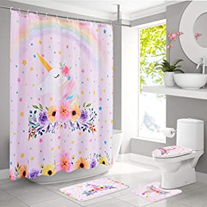 WERNNSAI Rainbow Unicorn Bathroom Sets with Shower Curtain Rugs Mats Non Slip Waterproof Bathroom Decorations Accessory Sets 4 PCS with Rugs Toilet Lid Cover Bath Mat for Kids Girls