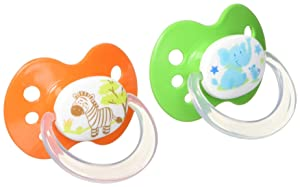 Playtex Silicone Orthodontic Binky Pacifiers, Babies, 6+ Months - 2 Pack (Styles/Colors May Vary)