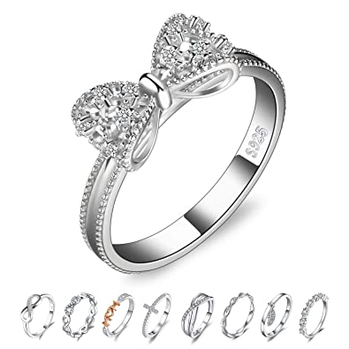 Amazon.com: JewelryPalace - Anillo de boda de plata de ley ...