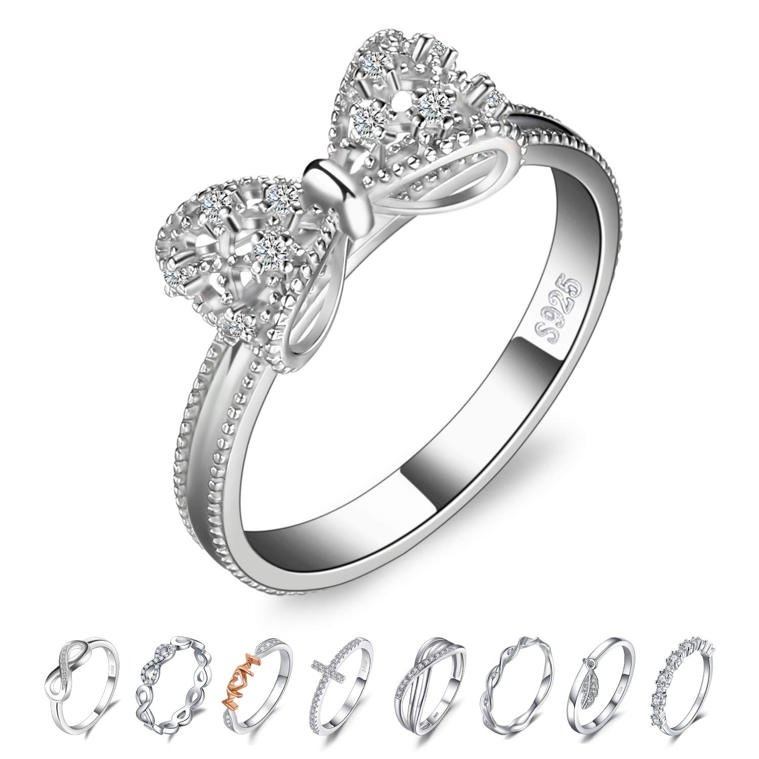 CloseoutWarehouse Cubic Zirconia Pave Infinity Ring Ring Sterling Silver
