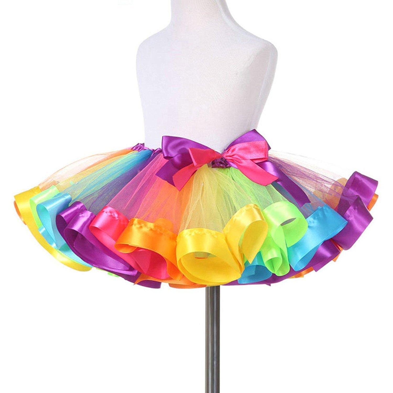 Traderplus Little Girls Layered Rainbow Ribbon Tutu Jolie Clothing Rhey Tulle Skirt Dress Ballet Tiered