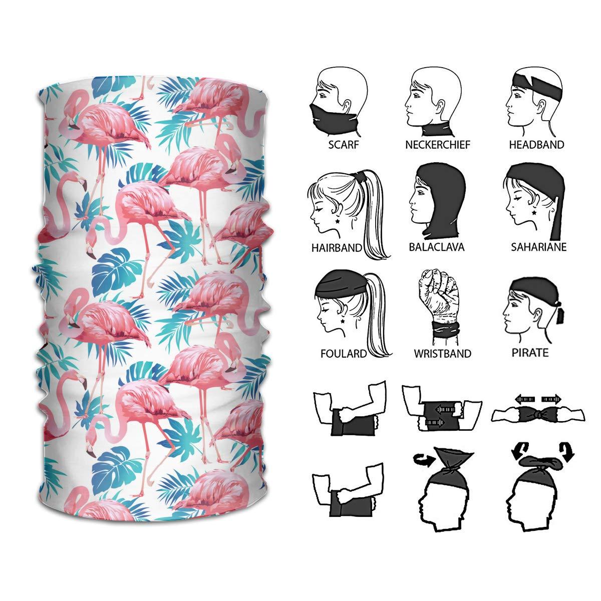 4dde0a7a65fc Amazon.com  Flamingo Bird And Tropical Flowers Versatile Stretchable Face  Mask Muffler Bandana Face Scarf  Clothing