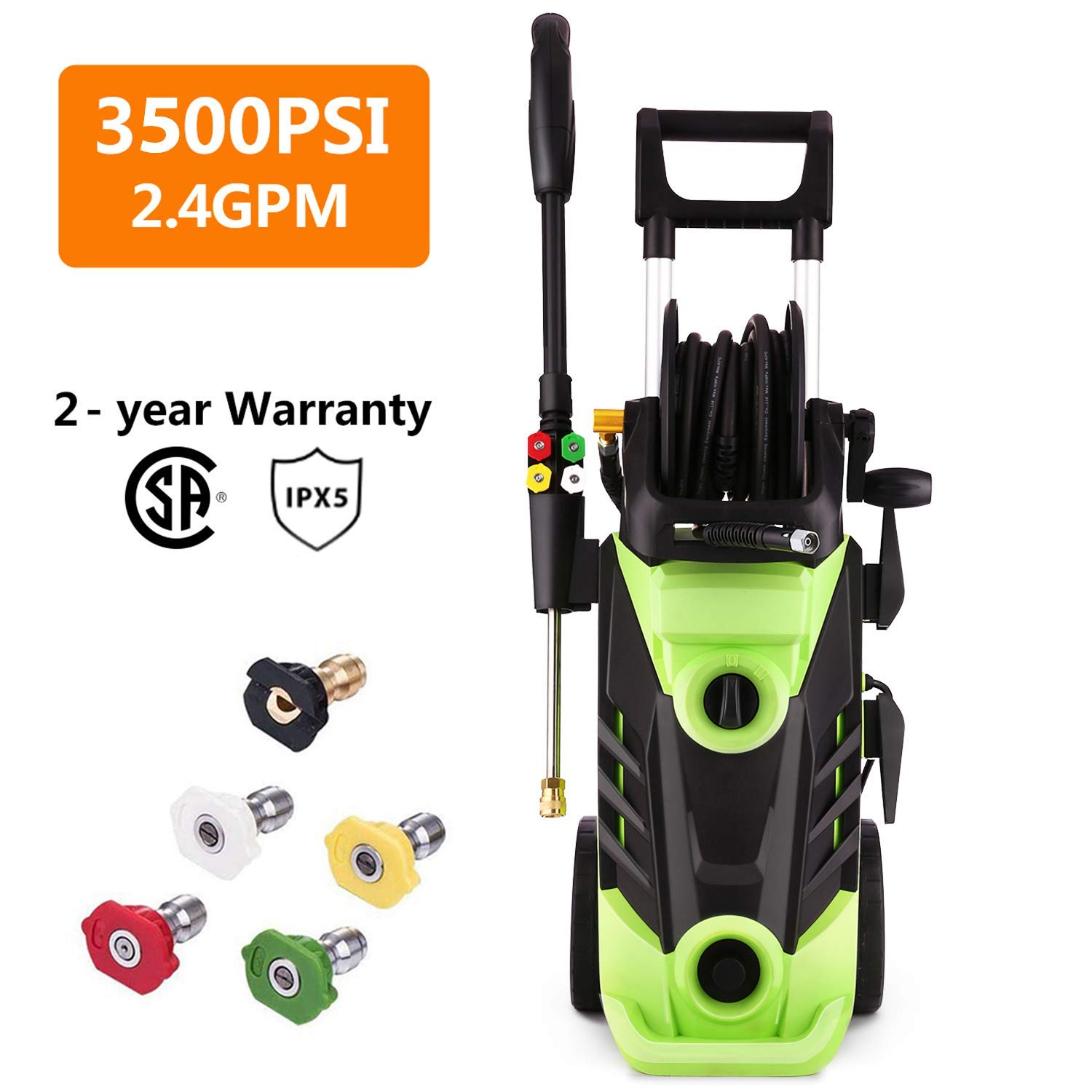 Qiohone 3500 PSI Power Washer Electric Pressure Washer 2.6 GPM 1800W Electric Power Washer Cleaner with Hose Reel and 4 Nozzles