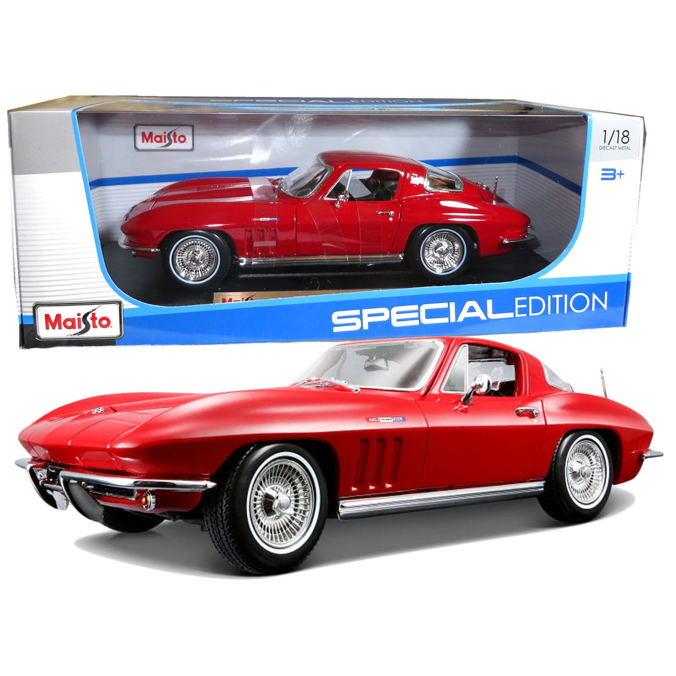 Maisto Year 2014 Special Edition Series 1 18 Scale Die Cast Car Set Red Color Classic Coupe 1965 CHEVROLET CORVETTE with Display Base Car Dimension 9 x 3 1 2 x 2 1 2