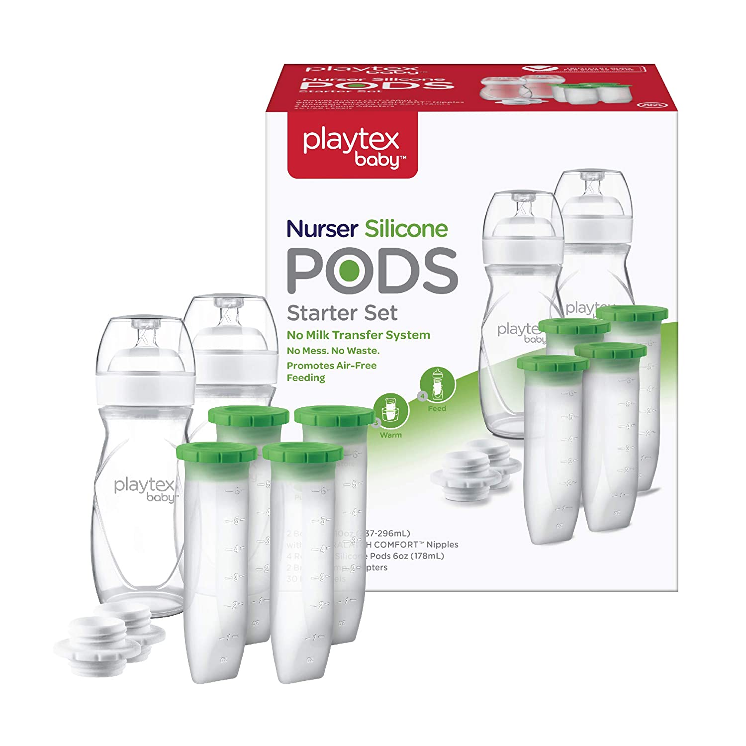 Playtex Baby Nurser Reusable Silicone PODS Starter Set for Breastmilk Storage & Air-Free Feeding