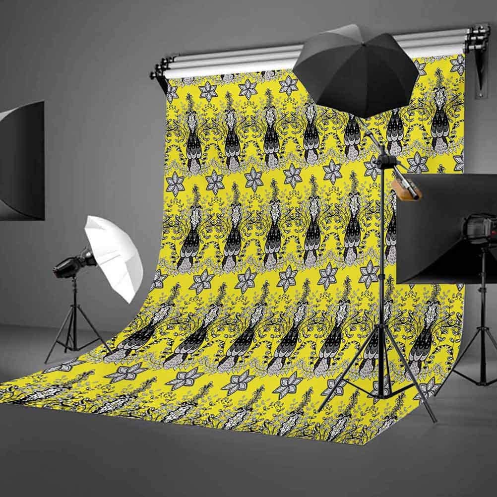 Grey and Yellow 10x12 FT Photo Backdrops,Orietal Paisley Floral Design Ivy Swilrs Image Background for Photography Kids Adult Photo Booth Video Shoot Vinyl Studio Props Black White and Charcoal Grey