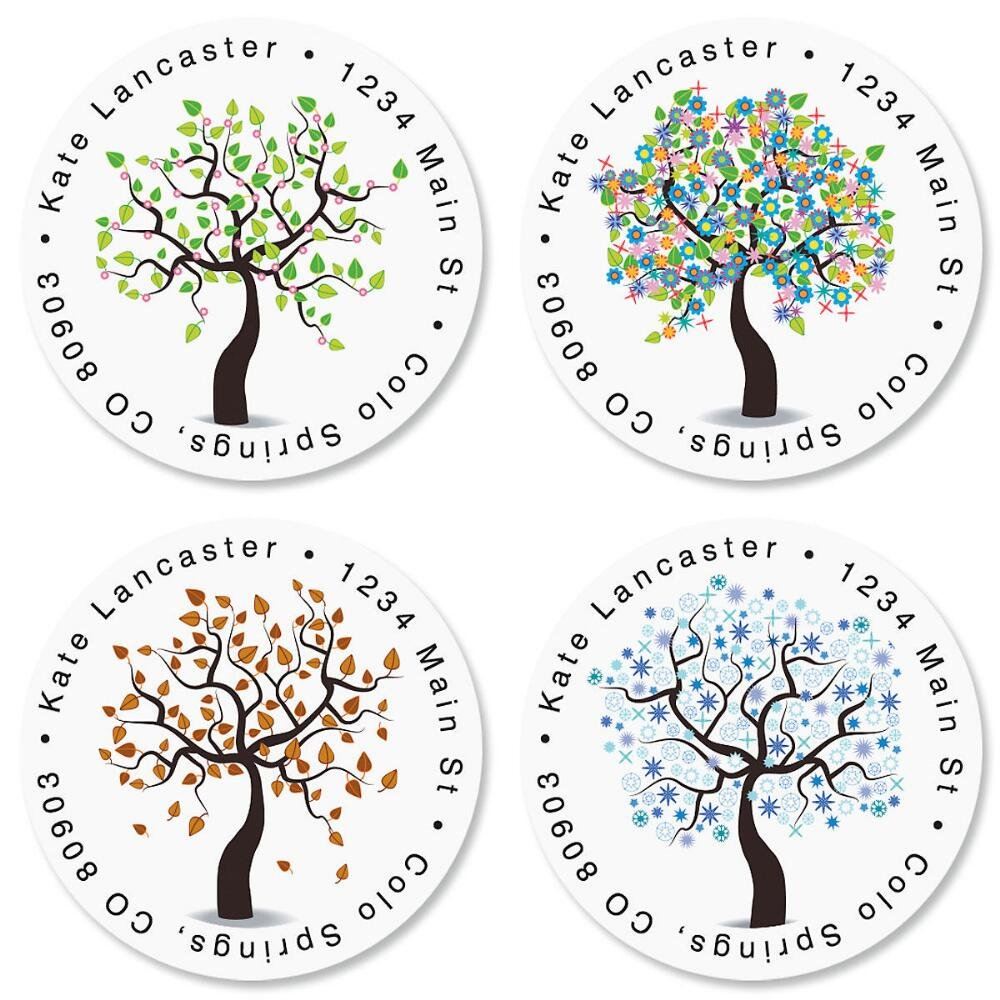Seasons of Trees Self-Adhesive, Flat-Sheet Round Address Labels (4 Designs)