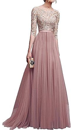 OMUUTR Damen Kleid 3 4 Arm Spitzen Chiffon Langes Party Ballkleid Abendkleid  Cocktailkleid Faltenrock Festliche Kleider Brautjungfer Hochzeit   Amazon.de  ... cf55512317