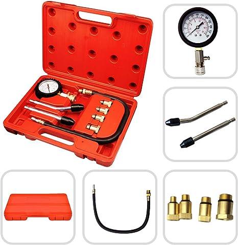 Todeco Kompressionstester Set Kompressionsdruckprüfer Material C45 Stahl Gehäusegröße 30 X 19 5 X 6 Cm 6 Teile Mit Rotem Koffer Auto