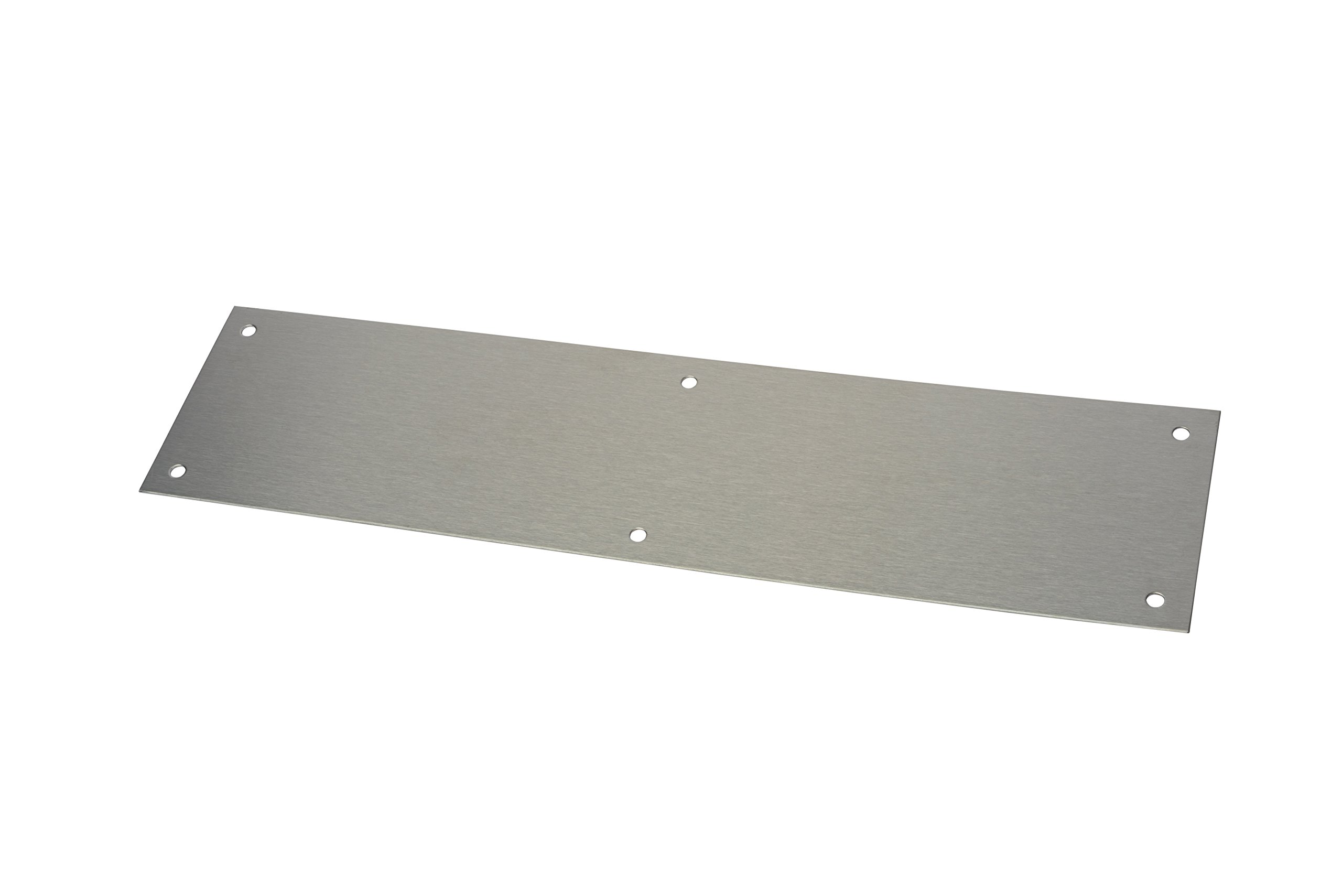 Rockwood 70A.32D Stainless Steel Standard Push Plate, Four Beveled Edges, 12'' Height x 3'' Width x 0.050'' Thick, Satin Finish