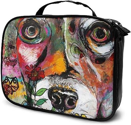 Bolsas de cosméticos para viajes de mujeres, colorido Pop Art Dream Dog Ilustración de un estuche para lápices Rat Terrier: Amazon.es: Belleza