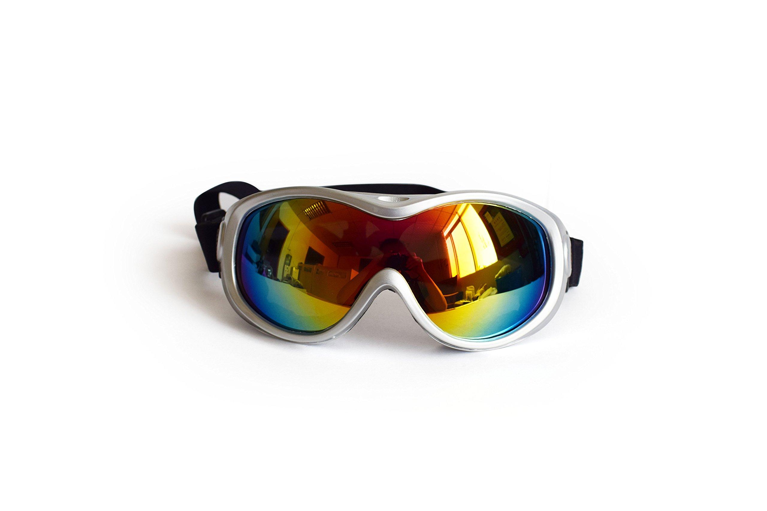 Tenderlybaby Large Dog Glaesses Anti-Fog Glasses Sun Glassess Goggles UV Protection Safety Goggles Snow Skiing Protection Goggles with Removable Starp for Dog (White)