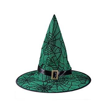 89986e5748f AMOSFUN Wizard Hats Spider Web Pattern Witch Hat with Buckle Party Hat  Halloween Costumes Halloween Party