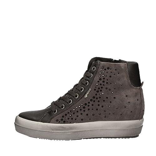 IGI & CO 67523 zapatillas de deporte grises altos zapatos de mujer de diamantes de imitación