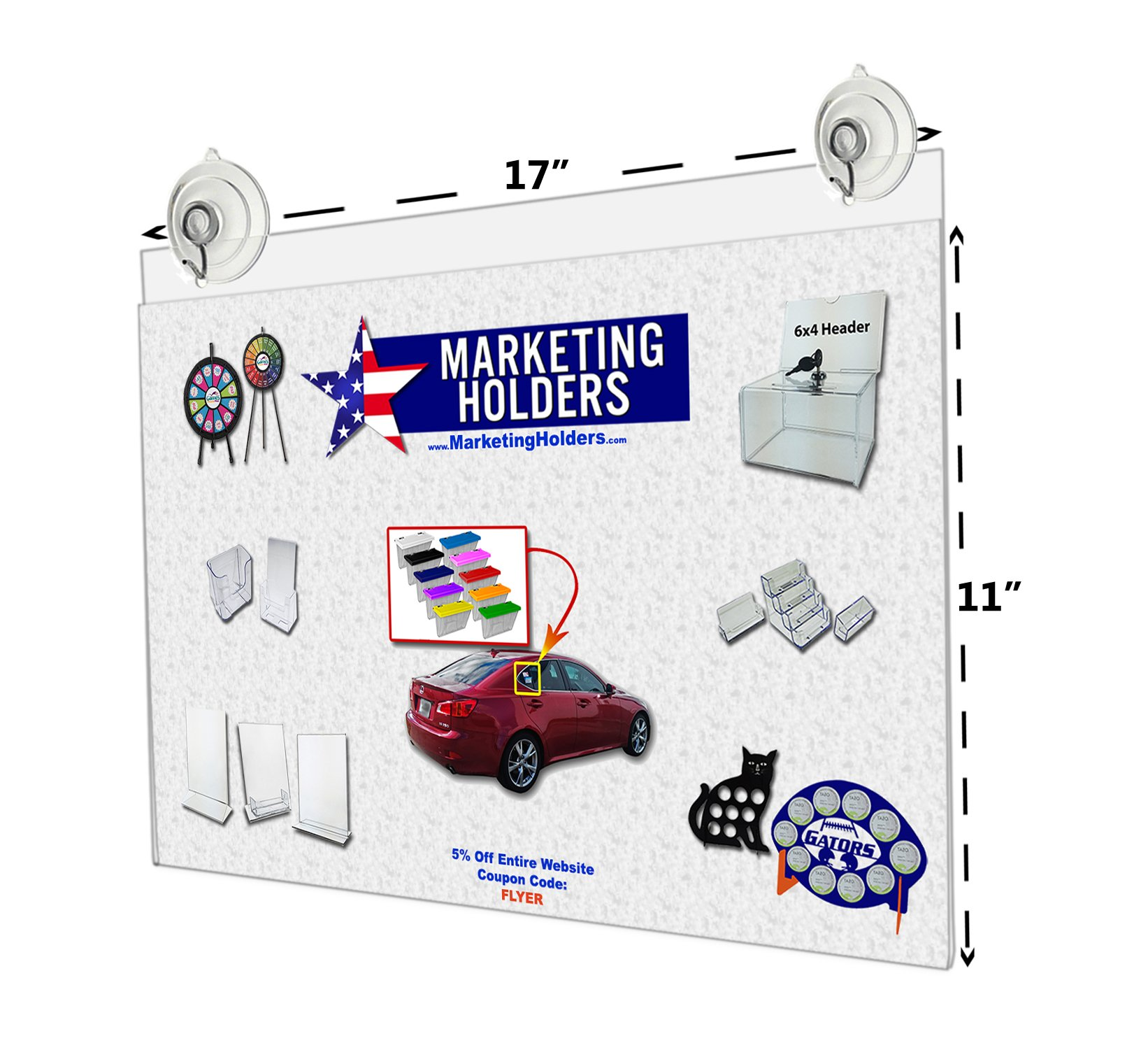 17''W x 11''H Window Mount Ad Frame/Sign Holder with 2 Suction Cups with Hooks (Lot of 1)