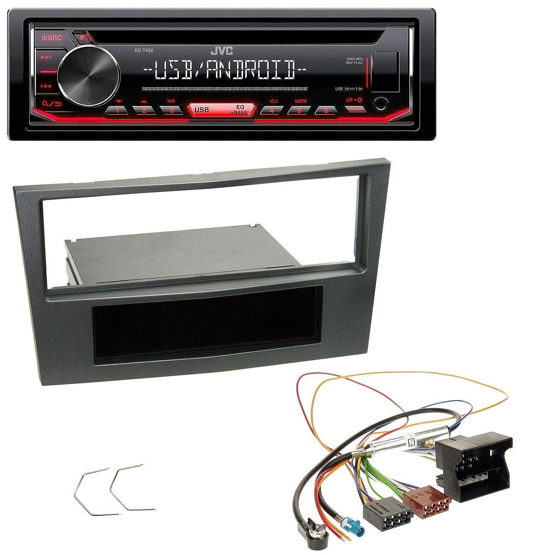 JVC KD-T402 USB AUX MP3 1DIN CD Autoradio f/ür Opel Antara Astra H Zafira B ab 2005 Charcoal