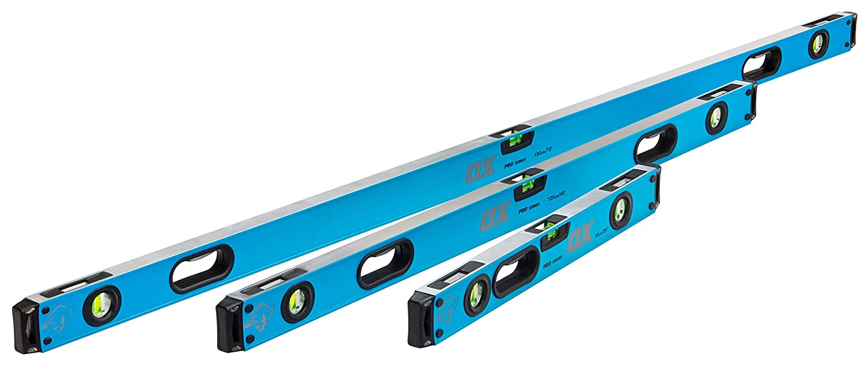 Set of 3 Black//Blue OX Pro Magnetic Bubble Spirit Level 600//1200//1800 mm