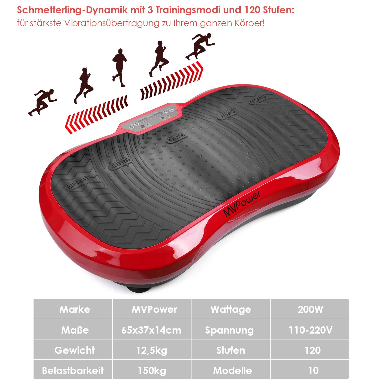 Mvpower Fitness Plataforma Vibratoria, Dispositivo con Oscilante 3D, Control Remoto, Gran Área Antideslizante, Altavoz, Ideal Máquina de Ejercicio ...