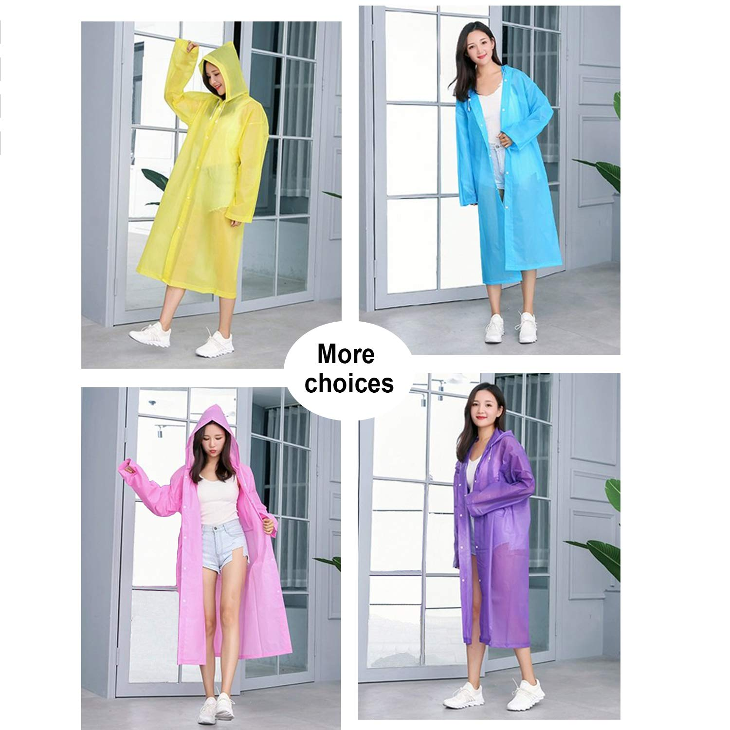 Rain Jackets Rain Ponchos for Women Men Adults Teens One Size Fit All with Hood Home Blue Car Perfect to Keep in Emergency Kit Office Backpack in Case A Rainy Day Pocket