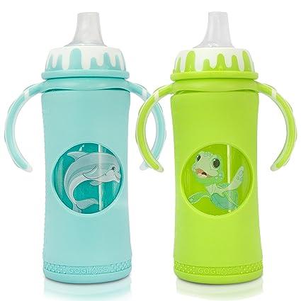 Botella de bebé de vidrio de borosilicato goglass Bundle Set con Sippy Copa Boquillas (2