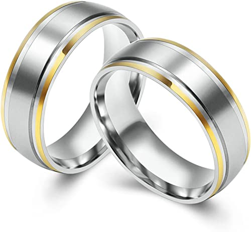Bishilin Stainless Steel Rings Unique Wide High Polished Round Ring Bands Gold Size 9