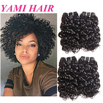 YAMI 8aBrazilian Human Hair Bundles, Water Wave Curly Weave Short  Hairstyles, 4pcs 100% Unprocessed...