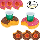 U.S. Pool Supply Inflatable Floating Donut Drink Holder Set (6 Pack) - 3 Strawberry & 3 Chocolate Frosted - Float Beverage Cans, Cups & Bottles - Fun Kid & Adult Pool Party