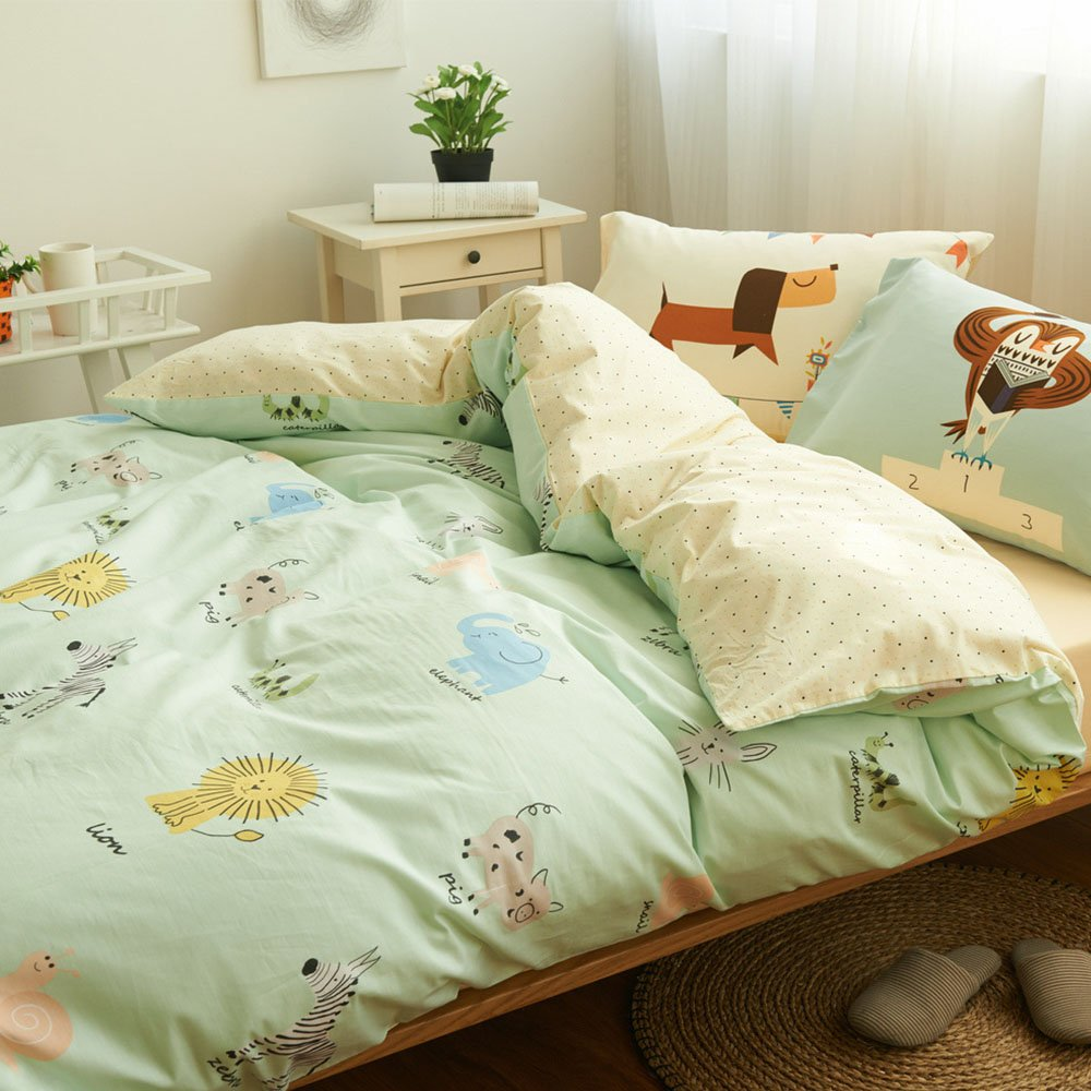 HIGHBUY 3 Piece Kids Duvet Cover Set Full Soft Cotton Animal Printed Bedding Duvet Cover
