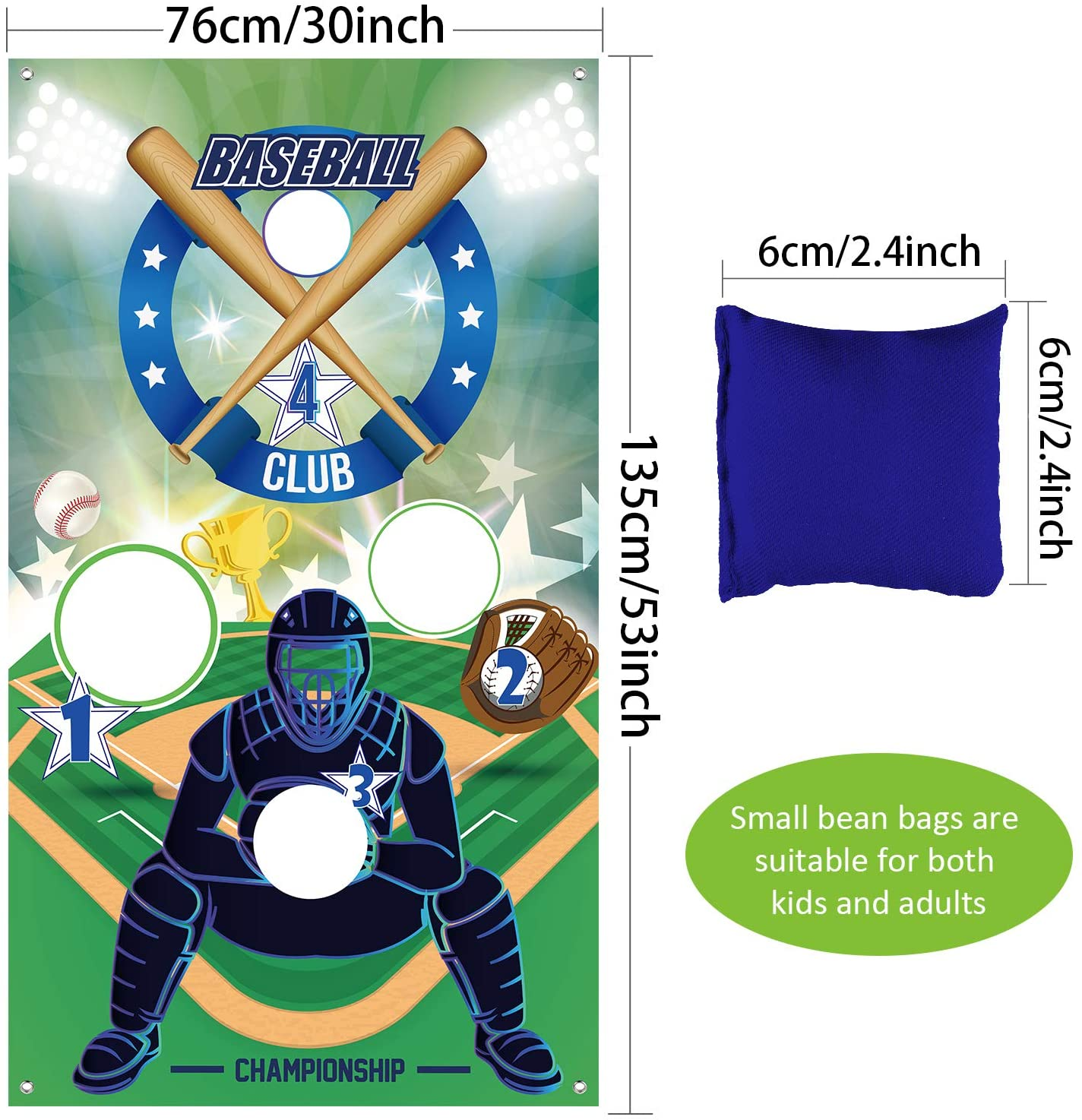 Sport Theme Party Decorations Supplies Baseball Toss Games with 3 Bean Bags Indoor and Outdoor Bean Bag Toss Game