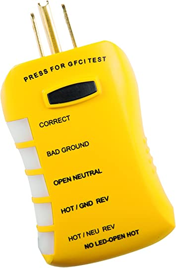 Receptacle Tester Sperry Instruments GFI6302 GFCI Outlet Standard 120V AC Out