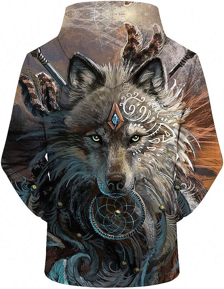Wolf Warrior Hoodies Unisex Hooded Sweatshits Animal Hoodie Tracksuits Pullover
