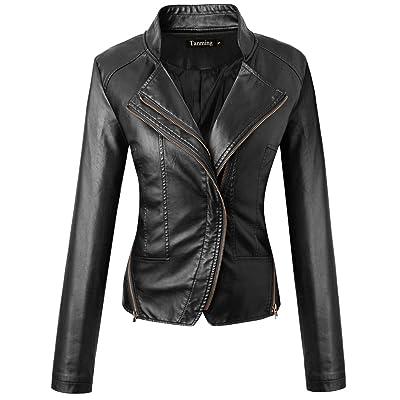 Tanming Women's Casual Moto Bomber Short PU Faux Leather Jacket Coat Outwear at Women's Coats Shop