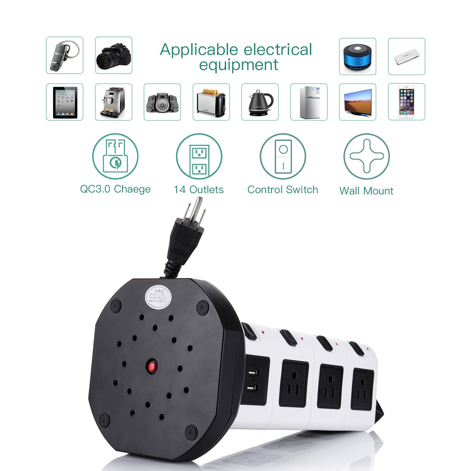 JACKYLED Power Strip - 14 Outlet Plugs with 4 USB Slot 6.5ft Cord Wire Extension 3000W Surge Protector Universal Socket Charging Station for PC Laptops Mobile Devices by JACKYLED (Image #7)